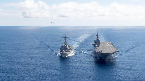 170527-N-BV658-1168 SOUTH CHINA SEA (May 27, 2017) The Arleigh Burke-class guided-missile destroyer USS Dewey (DDG 105) transits the South China Sea with the Japan Maritime Self-Defense Force ship JS Izumo (DDH 183). Dewey is part of the Sterett-Dewey Surface Action Group and is the third deploying group operating under the command and control construct called 3rd Fleet Forward. U.S. 3rd Fleet operating forward offers additional options to the Pacific Fleet commander by leveraging the capabilities of 3rd and 7th Fleets. (U.S. Navy Photo by Mass Communication Specialist 3rd Class Kryzentia Weiermann/ Released)