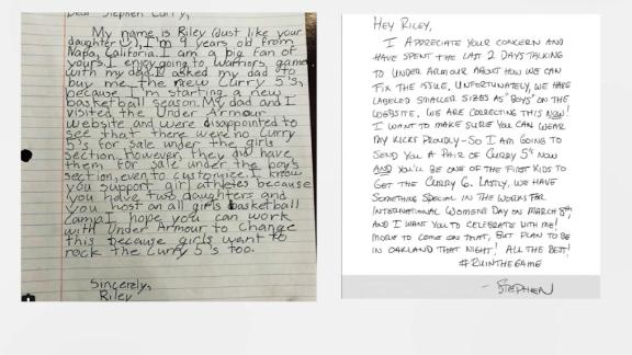 A 9-year-old girl from Napa wrote a letter to Steph Curry expressing her disappointment in that there were no Curry 5