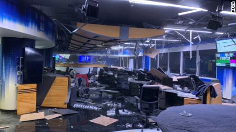Footage shows destruction in TV station