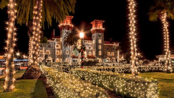 Nights of Lights (St. Augustine and Ponte Vedra Beach, Florida): Every palm tree, building and lamppost is covered in white lights at Nights of Lights in St. Augustine and Ponte Vedra Beach, Florida.
