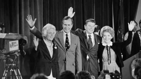 The Bushes stand with Republican presidential nominee Ronald Reagan and his wife, Nancy, in 1980. Bush lost to Reagan in the primaries but became his running mate.