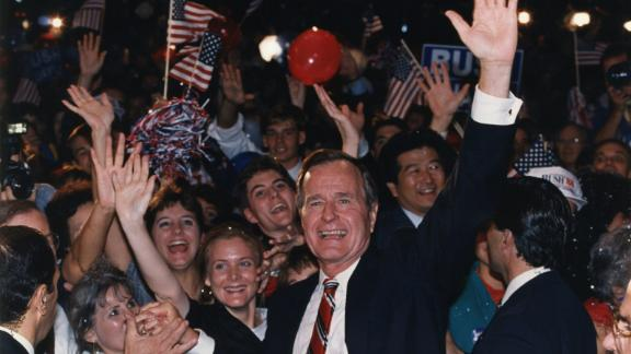 Bush joins supporters in Houston after learning he had defeated Dukakis in the presidential election.