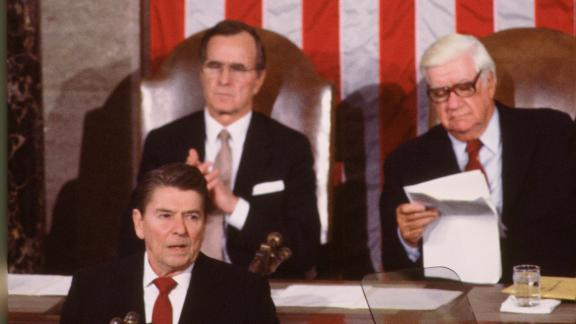 Bush and House Speaker Tip O'Neill listen to Reagan deliver his second State of the Union address in 1983.