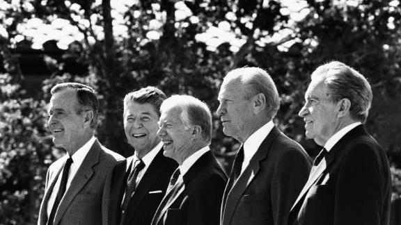 From left, Presidents Bush, Reagan, Jimmy Carter, Gerald Ford and Richard Nixon stand together at the dedication of the Ronald Reagan Library in 1991. It was the first time five presidents gathered in one place.