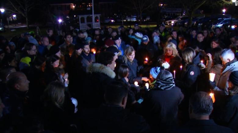 Friends and family of Keith Caneiro and his family gathered outside the Colts Neck Town Hall for a candlelight vigil honoring last week.