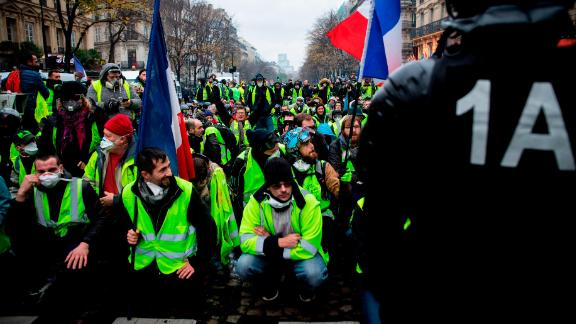 """""""Gilets jaunes"""" protesters at the Champs Elysees in Paris on Saturday"""