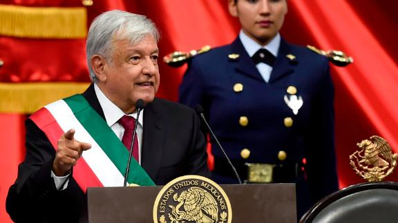 Mexico's new President, Andres Manuel Lopez Obrador, delivers a speech at the inauguration ceremony at the Congress of the Union in Mexico City on Saturday.