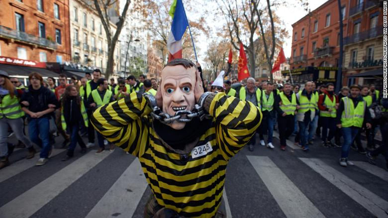 One of the thousands of protesters who took to the streets to call for lower fuel prices
