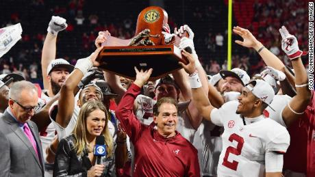 Head coach Nick Saban and the Alabama Crimson Tide celebrate after beating Georgia Bulldogs 35-28 in the 2018 SEC Championship game at Mercedes-Benz Stadium on December 1, 2018 in Atlanta, Georgia.  (Photo by Scott Cunningham / Getty Images)