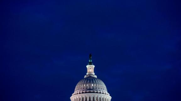 TOPSHOT - The US Capitol Building is seen at dusk in Washington, DC, February 6, 2018, as lawmakers work to avert a government shutdown later this week. Congressional leaders said Tuesday they were close to a budget deal that would keep the US government open -- despite President Donald Trump calling for a shutdown if he does not get his way on immigration. / AFP PHOTO / SAUL LOEB        (Photo credit should read SAUL LOEB/AFP/Getty Images)
