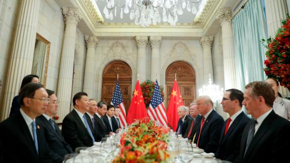 President Donald Trump, right, China's President Xi Jinping, left, and members of their delegations during their bilateral meeting at the G20 Summit, Saturday, Dec. 1, 2018 in Buenos Aires, Argentina. (AP Photo/Pablo Martinez Monsivais)