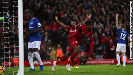 Liverpool's Divock Origi celebrates after scoring his team's only goal.