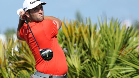 Jon Rahm of  Spain tees off on the fourth hole during the final round of the Hero World Challenge at Albany, Bahamas.