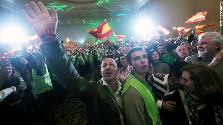 Vox supporters celebrate election results in Andalucia.