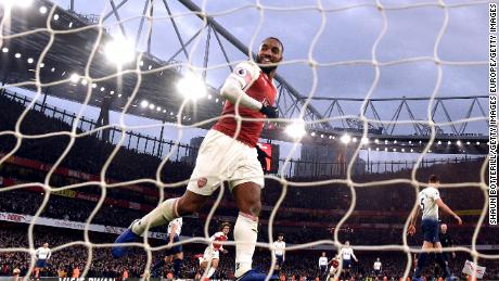 Alexandre Lacazette of Arsenal celebrates during the Premier League match with Tottenham Hotspur at Emirates Stadium.