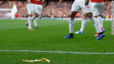 A banana was thrown from the crowd as Arsenal celebrated Pierre-Emerick Aubameyang's opener.