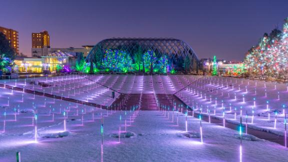 Denver Botanic Gardens (Colorado): A touch screen lets visitors change the patterns of light at the Denver Botanic Gardens' field of LED lights.