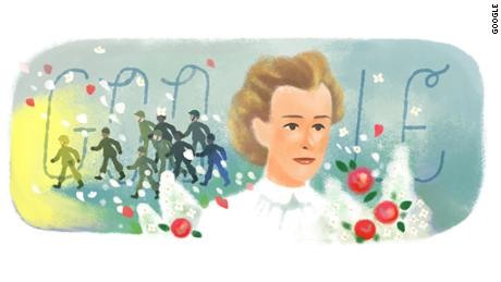 Google Doodle honors heroic WWI nurse Edith Cavell on her 153rd birthday.