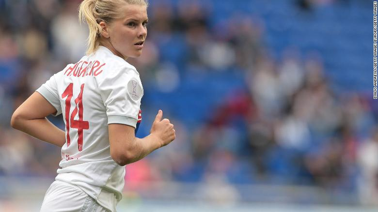 Hegerberg in action for Olympique Lyonnais during the UEFA Women's Champions League semifinal.