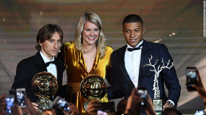 From left to right -- Luka Modric, Ada Hegerberg and Kylian Mbappe