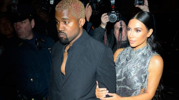 "Kanye West and Kim Kardashian West arrive Monday night at ""The Cher Show"" on Broadway."
