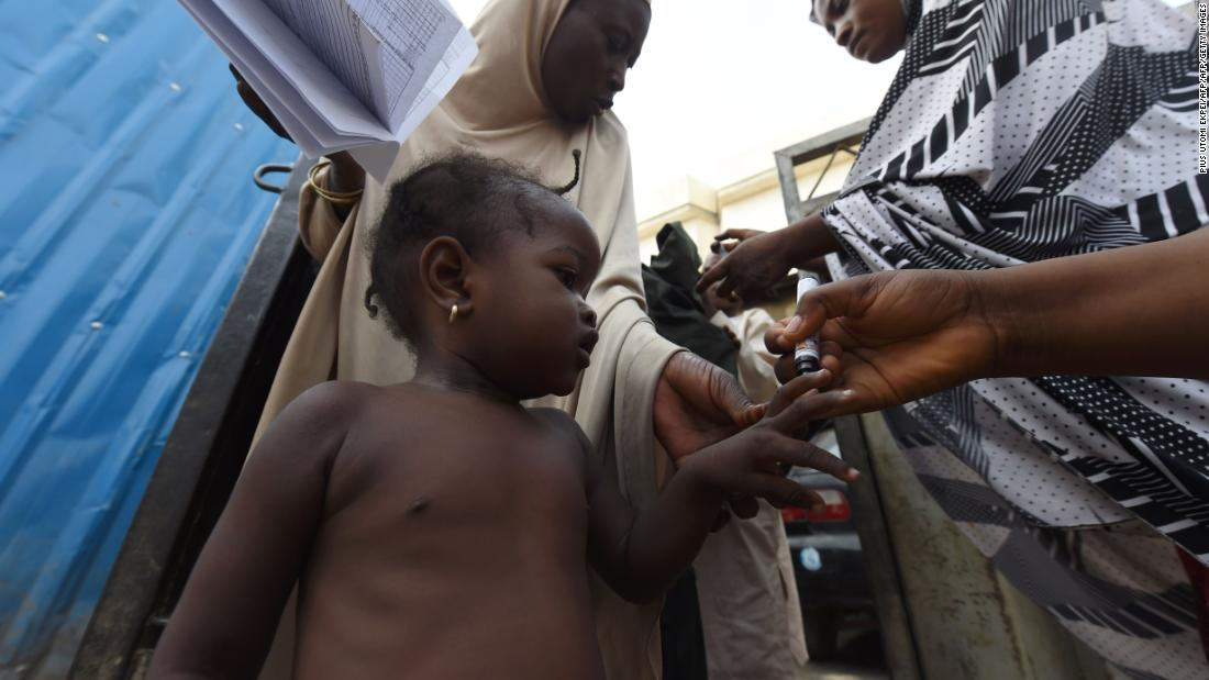 "A child's finger is being marked as proof to show that she has been immunized during a vaccination campaign against polio in northwest Nigeria. <br />Nigeria is one of only three countries in the world with ongoing wild polio virus transmission, according to <a href=""http://polioeradication.org/where-we-work/nigeria/"" target=""_blank"">The Global Polio Eradication Initiative</a>."