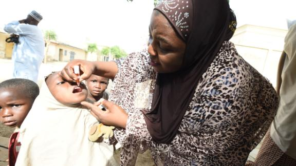 A child receives a shot during a vaccination campaign against polio in Northern Nigeria. Nigeria continues to make progress in the fight against polio, and was, in 2016, removed from the Polio-Endemic list by the World Health Organization.