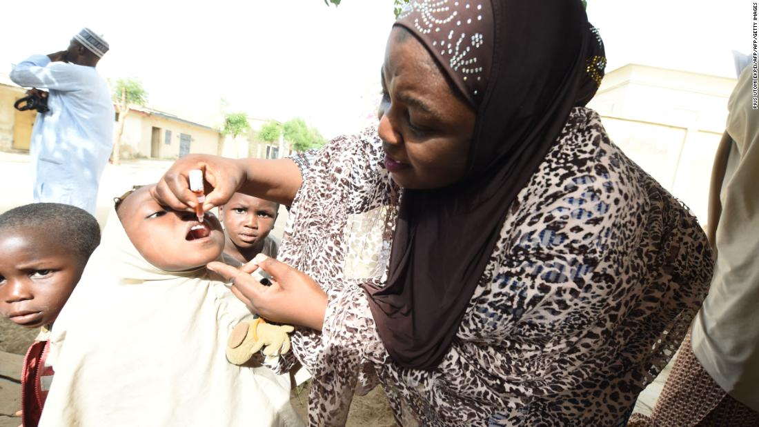 "A child receives a shot during a vaccination campaign against polio in Northern Nigeria. Nigeria continues to make progress in the fight against polio, and was, in 2016, removed from the <a href=""https://www.who.int/mediacentre/news/releases/2015/nigeria-polio/en/"" target=""_blank"">Polio-Endemic list</a> by the World Health Organization."