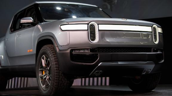 The Rivian Automotive Inc. R1T electric pickup truck is displayed during a reveal event at AutoMobility LA ahead of the Los Angeles Auto Show in Los Angeles, California, U.S., on Tuesday, Nov. 27, 2018. With its crew-cab and short bed, the R1T seems to be taking aim at the Ford F-150 Raptor.