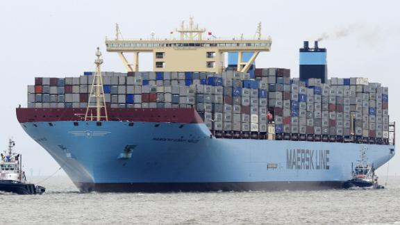 """The """"Maersk Mc-Kinney Moller"""" container ship arrives on August 18, 2013 at the container terminal in Bremerhaven, northwestern Germany, during its maiden trip. The vessel, that was built by the South Korean Daewoo Shipbuilding"""