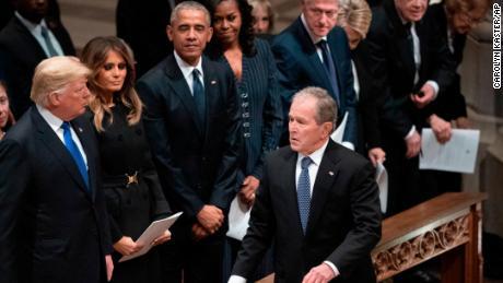 Uneasy presidents club convenes at Bush funeral