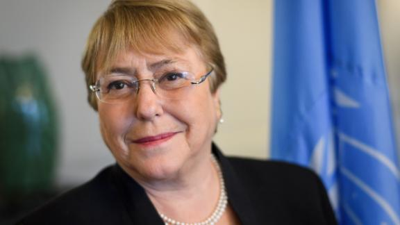 UN Human Rights chief Michelle Bachelet in her office on September 3 in Geneva.