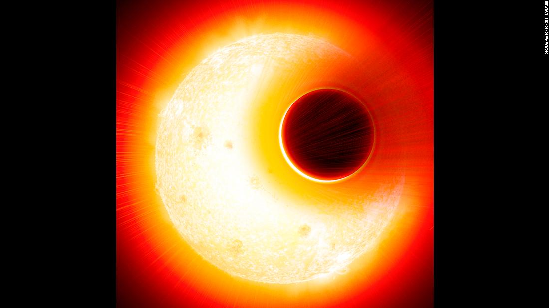 This is an artist's impression of the exoplanet HAT-P-11b. The planet has an extended helium atmosphere that's being blown away by the star, an orange dwarf star smaller but more active than our sun.