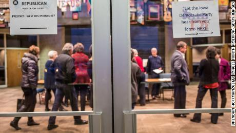 WEST DES MOINES, IA - FEBRUARY 1: Signs direct Republican and Democratic caucus-goers in precinct 317 at Valley Church on February 1, 2016 in West Des Moines, Iowa. The Democratic and Republican Iowa Caucuses, the first step in nominating a presidential candidate from each party, take place today. (Photo by Brendan Hoffman/Getty Images)