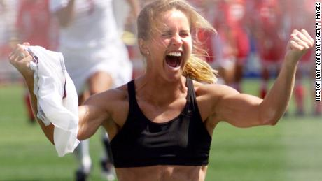 Brandi Chastain shouts after scoring in a shoot-out in the finals of the Women's World Cup