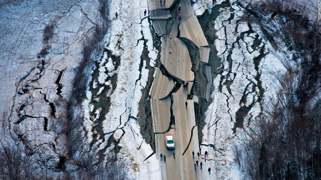 This aerial photo, taken on Friday, November 30, shows damage on Vine Road, south of Wasilla, Alaska, after a magnitude 7.0 earthquake.