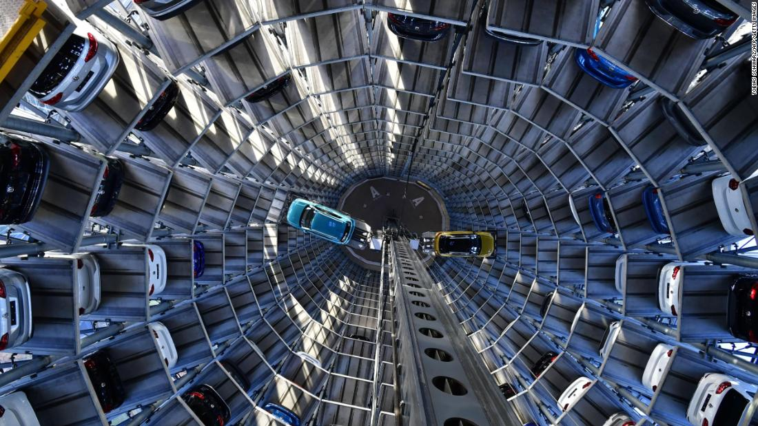 A couple of vehicles are presented at a Volkswagen storage facility in Wolfsburg, Germany, on Tuesday, December 4.