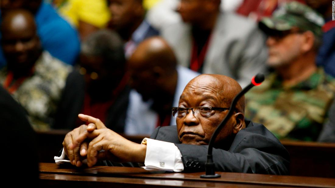 Former South African President Jacob Zuma sits in the High Court in Pietermaritzburg, South Africa, on Friday, November 30. Zuma has been charged with fraud, corruption, money laundering and racketeering.