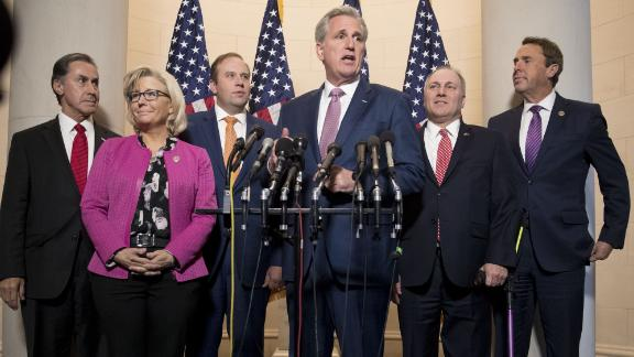 House Majority Leader Kevin McCarthy, a Republican from California, center, speaks as Representative Gary Palmer, a Republican from Alabama, from left, Representative Liz Cheney, a Republican from Wyoming, Representative Jason Smith, a Republican from Missouri, House Majority Whip Steve Scalise, a Republican from Louisiana, and Representative Mark Walker, a Republican from North Carolina, listen during a news conference after a GOP leadership election on Capitol Hill in Washington, D.C., U.S., on Wednesday, Nov. 14, 2018. House Republicans elected McCarthy as their leader next year, with Scalise and Cheney filling two other top party leadership posts as the GOP retreats to minority status in the chamber. Photographer: Andrew Harrer/Bloomberg via Getty Images
