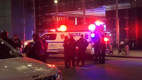Police and firefighters arrived around 10:30 p.m. to the Time Warner Center in New York.