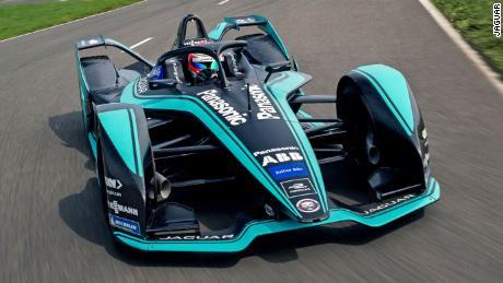 Nelson Piquet Jr. driving the new Jaguar Formula E car.
