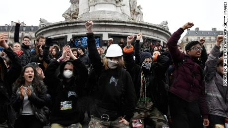 High school students demonstrate Friday at the Place de la Republique in Paris over education reforms.