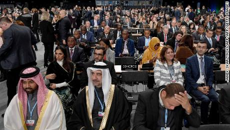 Leaders and negotiators from almost 200 nations listen to speeches during the opening of the COP24 on December 3.