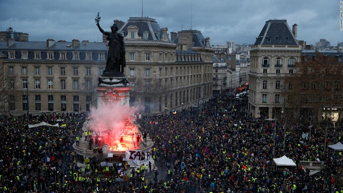 Protesters gather on December 8 in Paris.