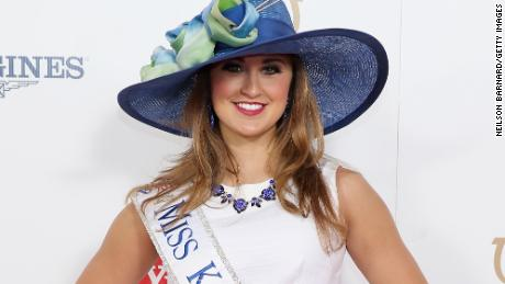 In this photo, Miss Kentucky 2014, Ramsey Carpenter, attends the 141st Kentucky Derby at Churchill Downs on May 2, 2015 in Louisville, Kentucky.