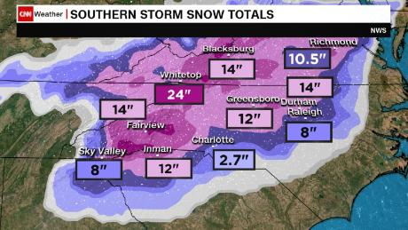 Southeastern snowstorm: 1 weather-related death reported in