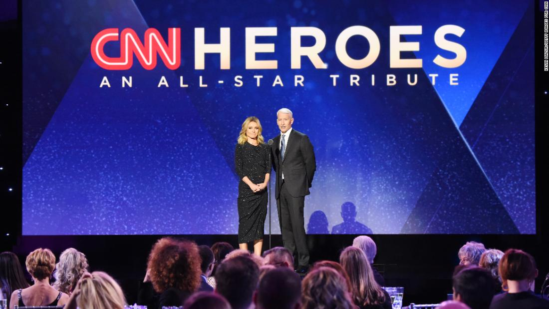 "Co-hosts Kelly Ripa and Anderson Cooper open the 12th annual ""CNN Heroes: An All-Star Tribute"" at American Museum of Natural History on Sunday, December 9, 2018, in New York City."