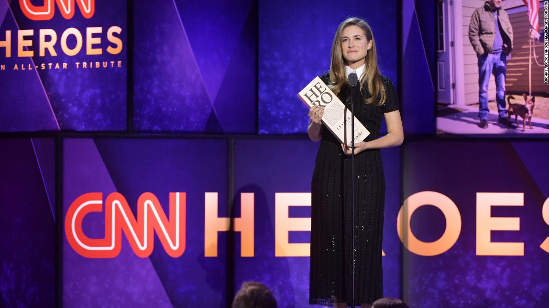 Lauren Bush Lauren presents an award to Top 10 CNN Hero Chris Stout, who builds tiny houses for homeless veterans.