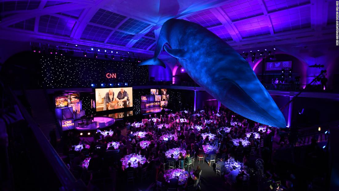 "The American Museum of Natural History's ""Whale Room"" hosts the 2018 ""CNN Heroes: An All-Star Tribute."""