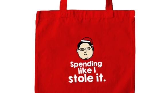 Detail of a tote bag, showing a caricature of Jho Low, the on-the-run financier accused of embezzling billions of dollars from Malaysia